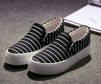 Women's Canvas Shoes Platform Flats Slip On Sneakers Stripes Wedge Casual Shoes