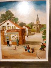 ART NAÏF peinture à l'huile signée JEAN FOUS (1901-1971) Village Animé