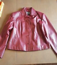 CLIO Red Leather Burgundy Jacket Lined Coat Button Up Womens Large