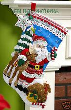 "Bucilla Nordic Santa ~ 18"" Felt Christmas Stocking Kit #86647 European Deer 2015"