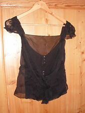 CHRISTIAN DIOR BY JOHN GALLIANO BLACK SILK CHIFFON TOP - UK SIZE 10, EU38