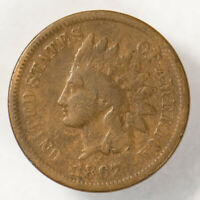 1867 1c INDIAN HEAD SMALL CENT, NICE MID-GRADE SEMI-KEY DATE COIN LOT#Q171