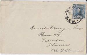 APH1275) Australia 1930 small cover to Kansas. Bears solo use 3d Sturt cancelled