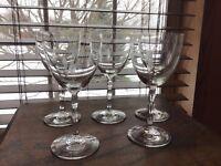 5 Nice Mid Century Cut Crystal Fostoria Heraldry Water Wine Goblets Glasses