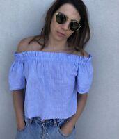 NICE MARTIN Blue Stripe Off The Shoulder Short Sleeve Size 6