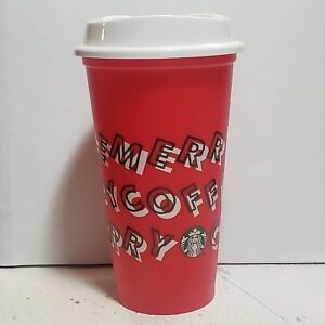 Starbucks Red Christmas Reusable Travel Cup Tumbler Merry Coffee used 2019