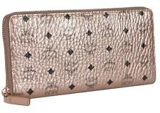 New MCM $350 Champagne Rose Gold Visetos Canvas Large Zip Around Wallet Clutch