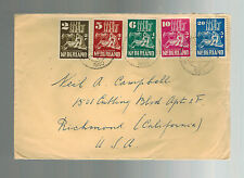 1950 Holland Netherlands Airmail cover to USA  Full set # B214-B218