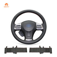 Black PU Leather Steering Wheel Cover Wrap for Subaru Forester Outback Legacy XV