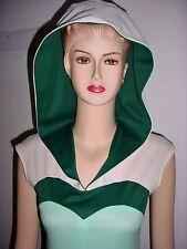 Vintage Dress Hooded Boho Hippie Dress - Cream with Light & Dark Green BUST=34