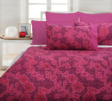 Accessorize Emma Hot Pink Jacquard KING Size Quilt Doona Cover Set