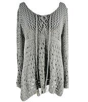Umgee Women's Gray Chunky Knit Long Sleeve Sweater Size Medium