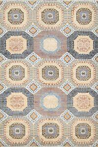 Vegetable Dye Geometric Khotan Oriental Area Rug Hand-knotted Wool 4'x6' Carpet