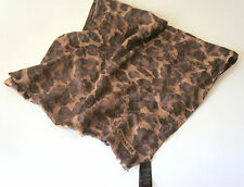 Coach Ocelot Leopard Animal Print Scarf Wrap Shawl Brown Cotton / Silk Very Rare