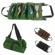 Canvas Multi-Purpose Tool Roll Up Bag Wrench Storage Carrier Pouch Organizer New