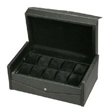 Diplomat Carbon Fiber Black Ten Watch Box Storage Case Removable Tray 10 Watches