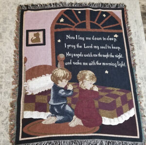Children's Bed Time Prayer Now I Lay Me Down To Sleep Throw Tapestry Blanket