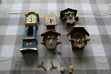Lot of 5 Vintage Mini Cuckoo (Coo Coo) Clocks INCOMPLETE