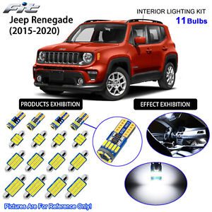 11 Bulbs LED Interior Light Kit Cool White Dome Lamp For 2015-2020 Jeep Renegade