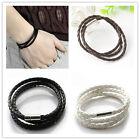 Fashion Chic Womens Mens Black Leather Interlaced Cuff Bangle Wristband Bracelet