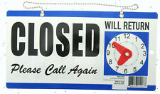 OPEN CLOSED Will Return Clock Sign with Hanger for Door Will Return - BLUE