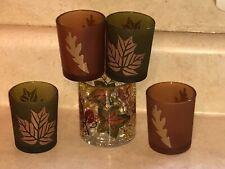 Autumn Garland Crackle Glass Votive Holder Candle Accessory 4 Green Amber Votive