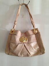B. Makowsky Croco Embossed Glove Leather Shoulder Bag Pre-Loved Sand