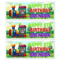 X 2 PERSONALISED TRAIN BIRTHDAY PARTY PHOTO BANNER WALL DECORATION 5TH ANY AGE