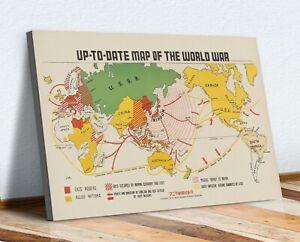 Vintage Map of World War 1942 CANVAS WALL ART ARTWORK FRAMED PRINT