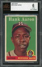 1958 Topps #30 Hank Aaron Milwaukee Braves BVG 6 EX-MT Name in White Letters