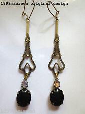 Art Nouveau Art Deco earrings Edwardian Celtic vintage style black drop long