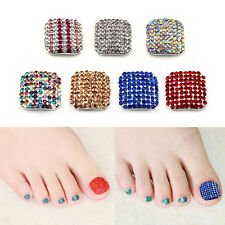 3D Crystal Rhinestone False Toe Nail Art Sticker Tips Wraps DIY Decoration Tool