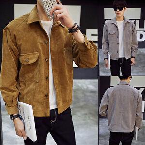 Fashion Mens Corduroy Coat Cardigan Sweater Jumper Jacket Tops Outwear Overcoat
