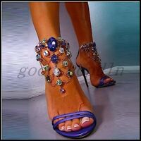 Plus Size Sexy Ladies Peep Toe High Heel Sandals Rhinestone Ankle Strap Shoes UK