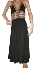 Phoebe Couture Women's Black & Gold Dress Empire Waist Triangle Halter Size 8
