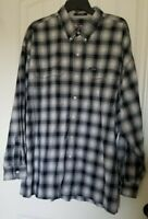Chaps Ralph Lauren men's shirt XXL blue white gray plaid button down long sleeve