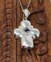 Silver Cross Pendant with Amethyst and 925 Silver Chain