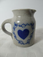 Salmon Falls Stoneware Creamer Pitcher Blue Heart in Flowers 1994 Dover NH