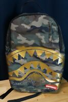 Sprayground Gold Sharks In Camo Authentic Backpack. Camouflage. Shark.