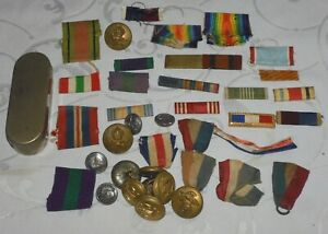 WW2 BRITISH & US MILITARY COLLECTION INSIGNIA RIBBONS BADGES MIXED LOT + TIN