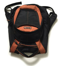 Eddie Bauer Black Rust Polyester Backpack School Bag w Compartments & Pockets