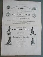 GDE PUBLICITÉ ANCIENNE 1870 PARIS REUTLINGER PHOTOGRAPHE CACHEMIRES PL.VICTOIRES