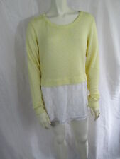 Anthropologie Clu + Willoughby Long Sleeve Sheer Top Sweater Blouse Yellow S NWT