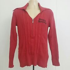 Harley-Davidson Women Size X Large Cable Knit Sweater Red Maroon Half Zipper B1