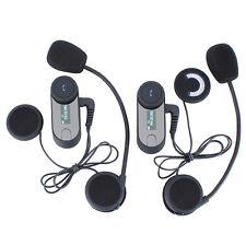 2PCS 800M Motorcycle Helmet Intercom System Bluetooth Interphone Headset LCD+FM