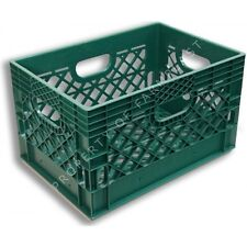 Green Rectangular Milk Crate Heavy-Duty Storage Bin Container Case Box