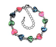Genuine Paua Sea Shell Heart Anklet - Multi Colored