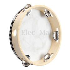 8'' Musical Tambourine Tamborine With Head Drum Round Percussion for KTV Party