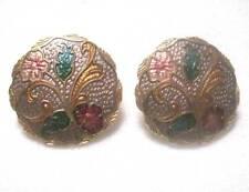Vintage Stud Pierced Earrings 1970-80's Gold Tone with Raised Painted Flowers