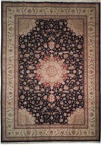 Black 10 x 14 ft Traditional Rug New Fine Wool & Silk Oriental Classic Carpet